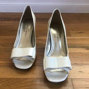 Jessica Simpson pearlescent peptoe heels